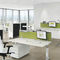 floor-mounted office divider / countertop / fabric / wooden