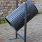 public trash can / floor-standing / steel / galvanized steel