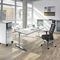 workstation desk / wood veneer / metal / HPL