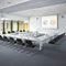contemporary conference table / wood veneer / HPL / metal