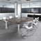 contemporary boardroom table / wood veneer / HPL / glass