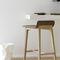 Contemporary bar stool / oak / leather / fabric LAIA by Jean-Louis Iratzoki Alki
