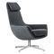 contemporary armchair / steel / with footrest / with headrest