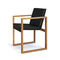 contemporary garden chair / sled base / with armrests / hardwood