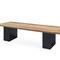 garden bench / contemporary / stainless steel / teak
