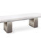 garden bench / contemporary / teak / stainless steel