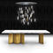 contemporary table / painted wood / marble / rectangular