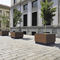 steel planter / wooden / square / contemporary