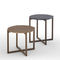 contemporary side table / solid wood / lacquered MDF / marble