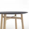 contemporary side table / solid wood / lacquered MDF / round