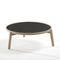 contemporary coffee table / solid wood / ceramic / round