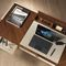wooden desk / leather / contemporary