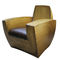 original design armchair / leather / metal / with concealed casters