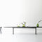 contemporary dining table / oak / brushed metal / aluminum