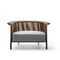 traditional armchair / fabric / leather / painted metal