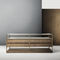 contemporary chest of drawers / walnut / metal / glass