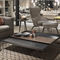 contemporary coffee table / metal / HPL / square