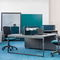 countertop office divider / metal / fabric