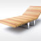 contemporary sun lounger / wooden / stainless steel / commercial