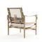 contemporary armchair / leather / oak / teak