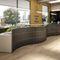 modular reception desk / semicircular / lacquered wood / wood veneer