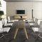 contemporary boardroom table / wood veneer / glass / rectangular