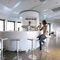 Contemporary bar stool / lacquered wood / stainless steel / commercial ED MOREE