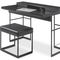 stainless steel desk / leather / contemporary