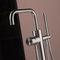 bathtub mixer tap / floor-mounted / stainless steel / bathroom