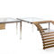 contemporary dining table / marble / iroko / tempered glass