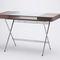 wood veneer desk / MDF / metal / tempered glass