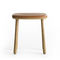 contemporary stool / wooden / leather / fabric