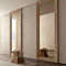 contemporary wardrobe / lacquered wood / leather / sliding door