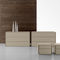 contemporary chest of drawers / lacquered wood / leather / beige