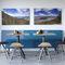 contemporary bistro table / steel / oak / teak