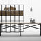 contemporary work table / oak / painted steel / rectangular