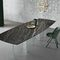 contemporary table / smoked glass / bronze / marble