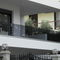 glass railing / with bars / outdoor / for balconies