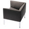contemporary visitor armchair / fabric / leather / aluminium