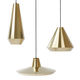 pendant lamp / contemporary / brass / fluorescent