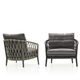 contemporary armchair / fabric / cast aluminum / rope