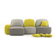 modular sofa / contemporary / linen / 3-seater