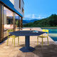 contemporary dining table / steel / hexagonal / outdoor