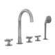 double-handle bathtub mixer tap / free-standing / chromed metal / bathroom