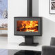 wood heating stove / contemporary / steel / glass