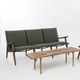 Scandinavian design sofa / walnut / fabric / 3-seater