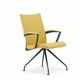 contemporary visitor chair / fabric / polished stainless steel / cast aluminum