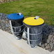 public trash can / floor-standing / wall-mounted / galvanized steel