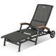 traditional lounge chair / teak / aluminum / indoor