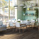 contemporary dining table / wooden / glass / steel